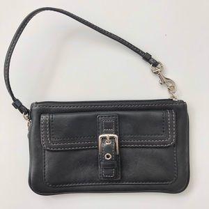 Coach black leather leather wristlet / clutch